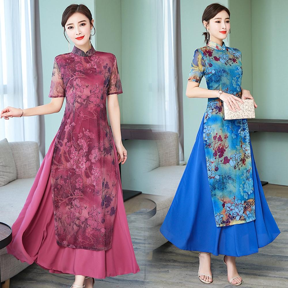 中國風古典立領開叉裙襬旗袍S-4XL-REKO(共二色)