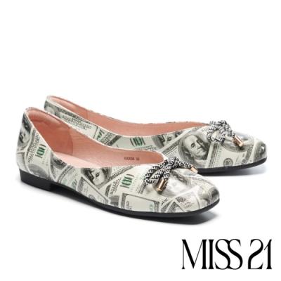 低跟鞋 MISS 21 小別緻復古蝴蝶結設計全真皮方頭低跟鞋-印花