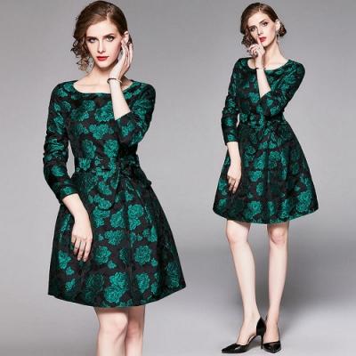典雅綠花印圓領綁帶收腰A字裙洋裝M-2XL-M2M