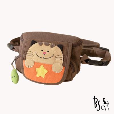 ABS貝斯貓 可愛貓咪手工拼布小型側背包(咖啡)88-046