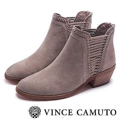 VINCE CAMUTO 個性側編織中跟短靴-絨灰
