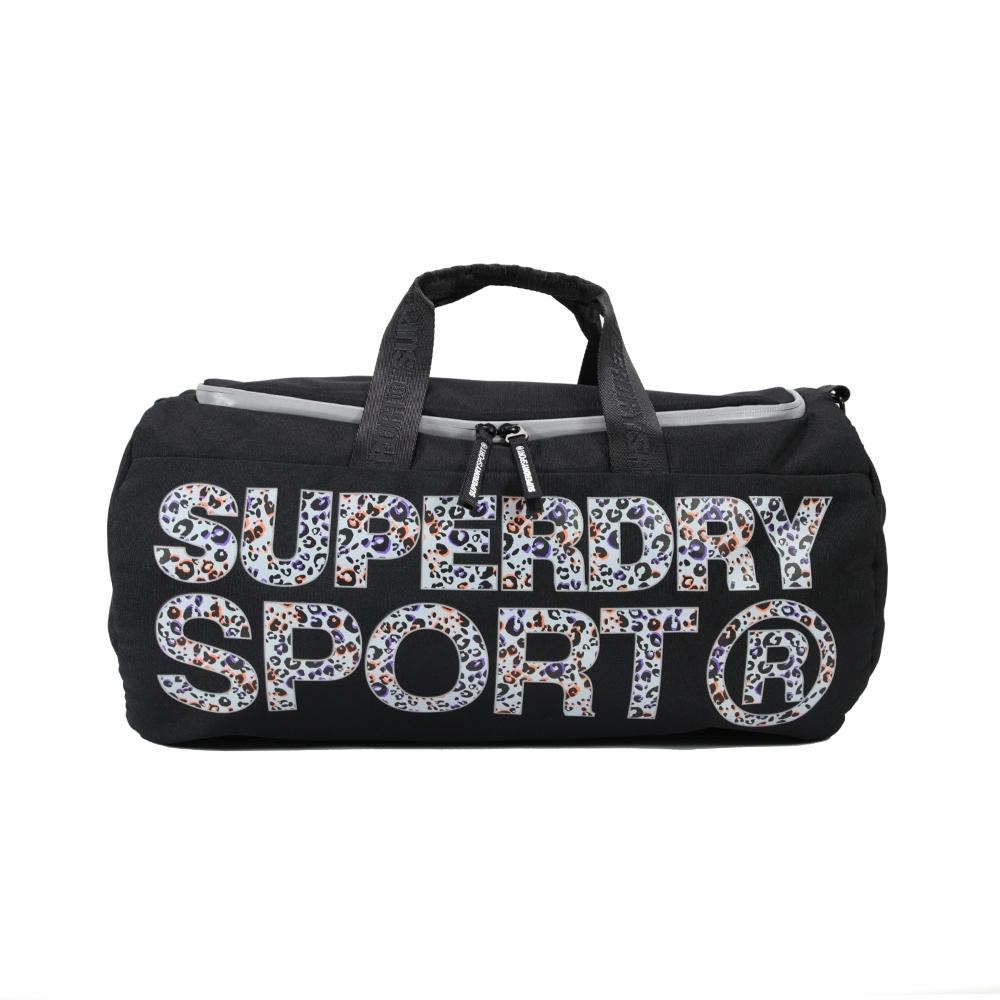 Superdry Sport 健身圓筒手提斜背包(黑色)