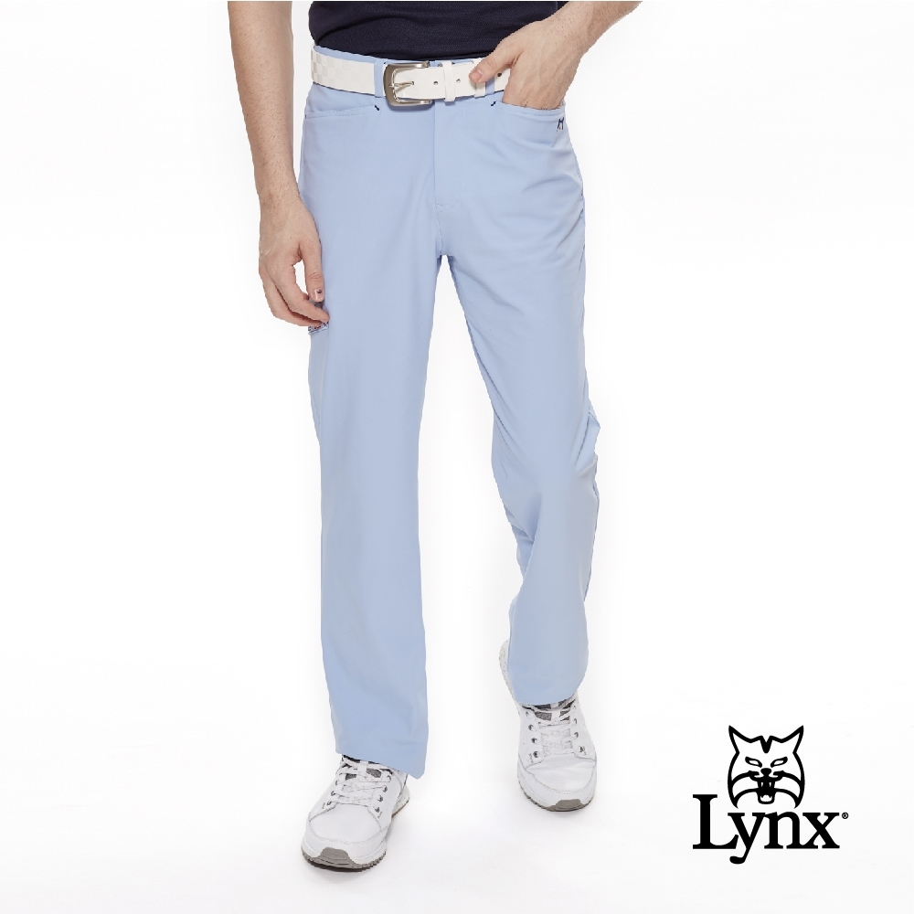 【Lynx Golf】男款防潑水抗UV側邊口袋平口休閒長褲-水藍色