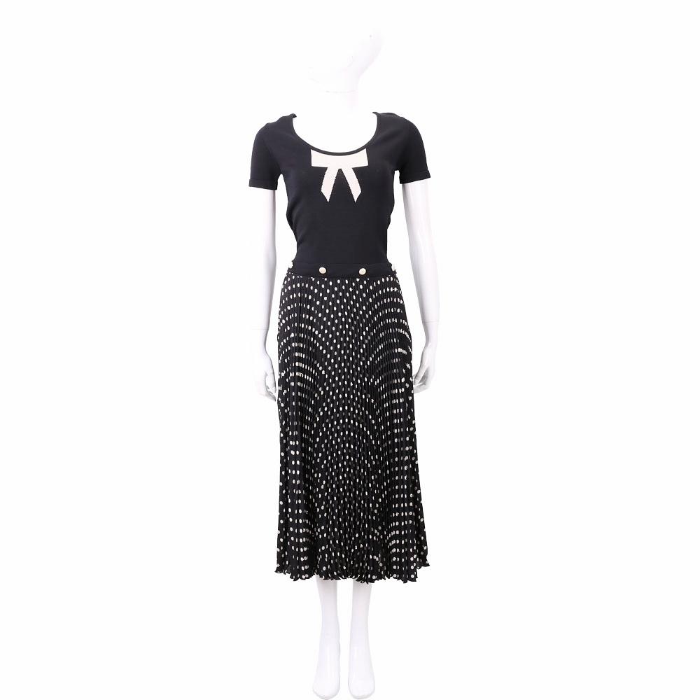 ELISABETTA FRANCHI 可拆式 針織拼接黑色圓點百褶洋裝