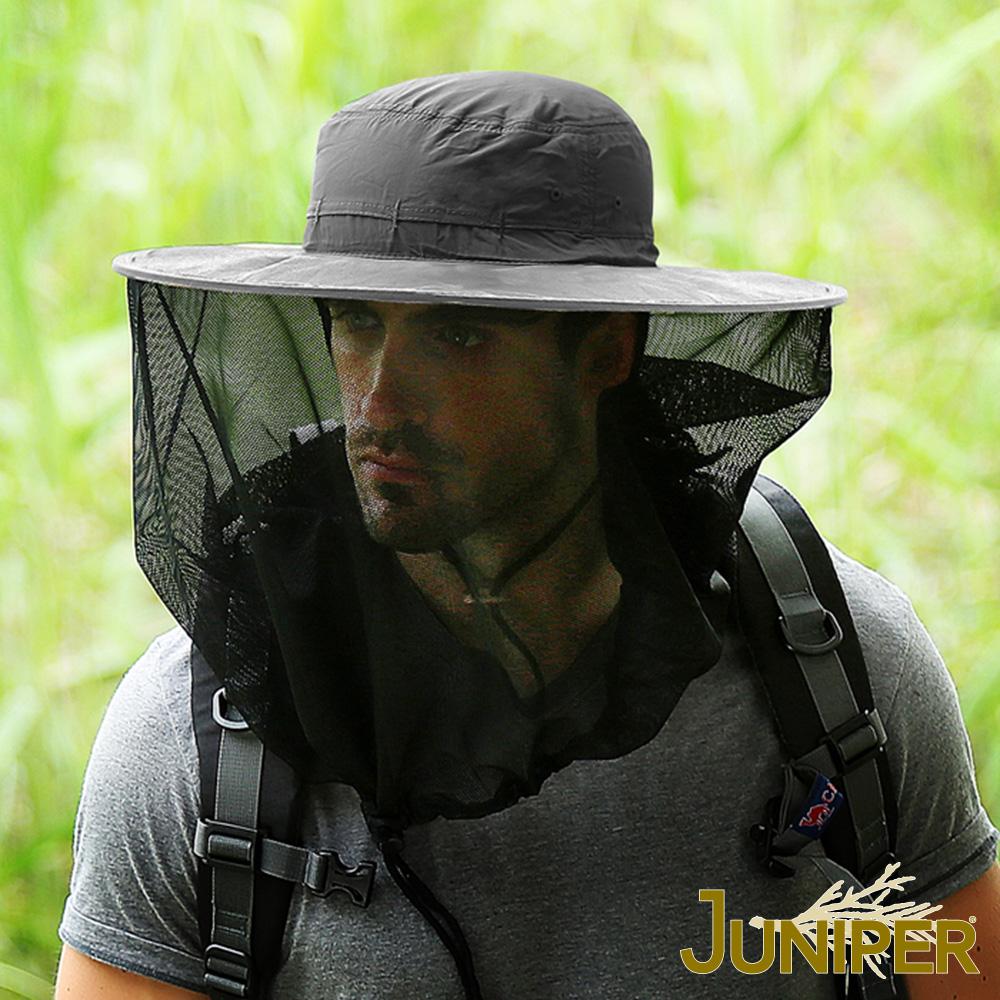 JUNIPER 戶外抗UV防蜂防蚊網帳可收納超大頭圍遮陽帽
