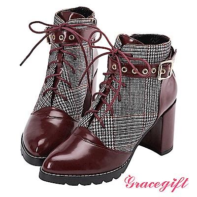 Grace gift X Kerina妞妞-多穿式帶釦綁帶短靴 酒紅