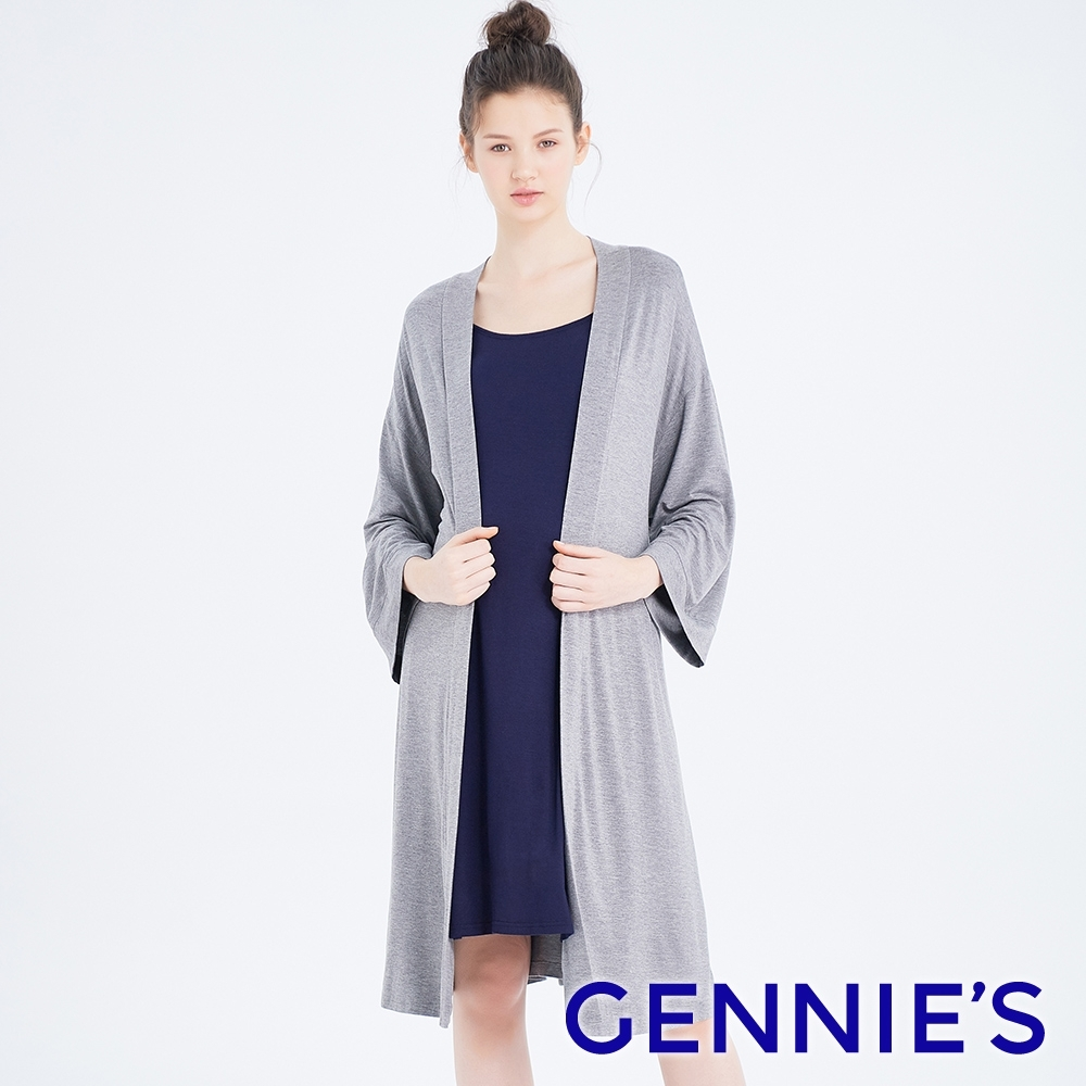 Gennies奇妮-親膚綁帶孕婦罩衫-灰(TPA38)