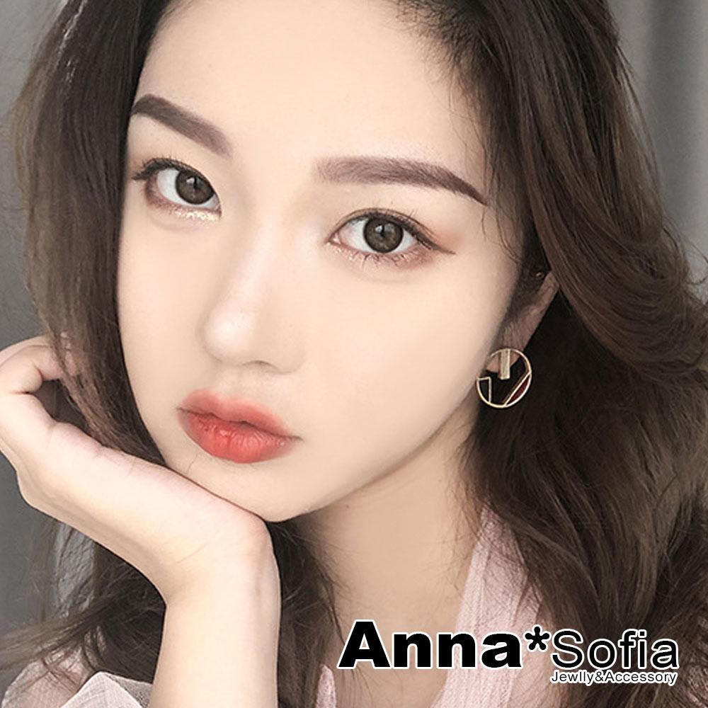 【3件5折】AnnaSofia 韓流釉彩色塊 耳針耳環(圓幾何-紅黑米系) @ Y!購物