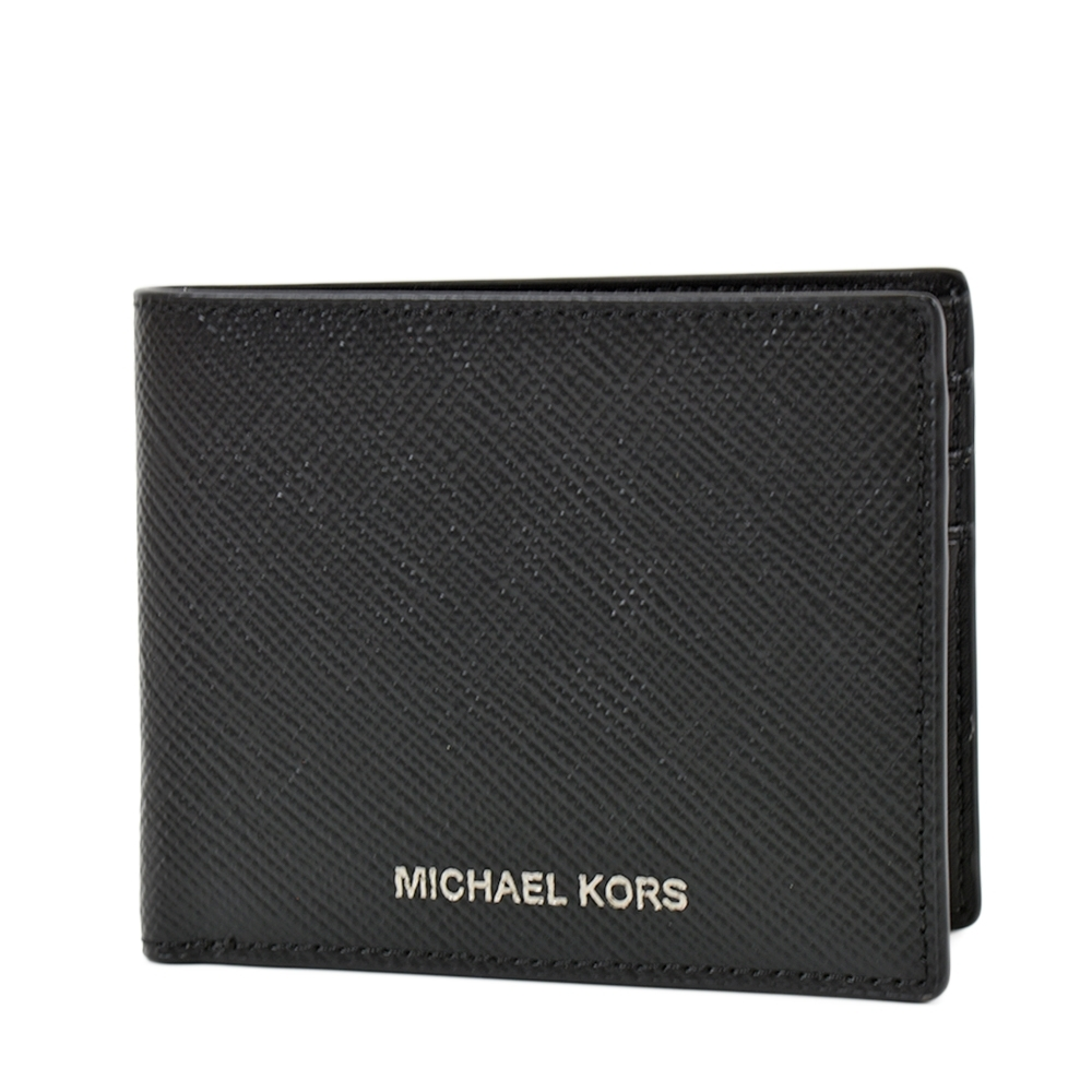 MICHAEL KORS 男款 銀字防刮皮革六卡短夾-黑色