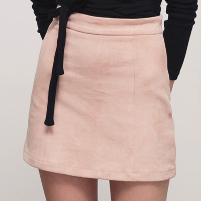 AIR SPACE 質感麂皮高腰褲裙(粉紅)