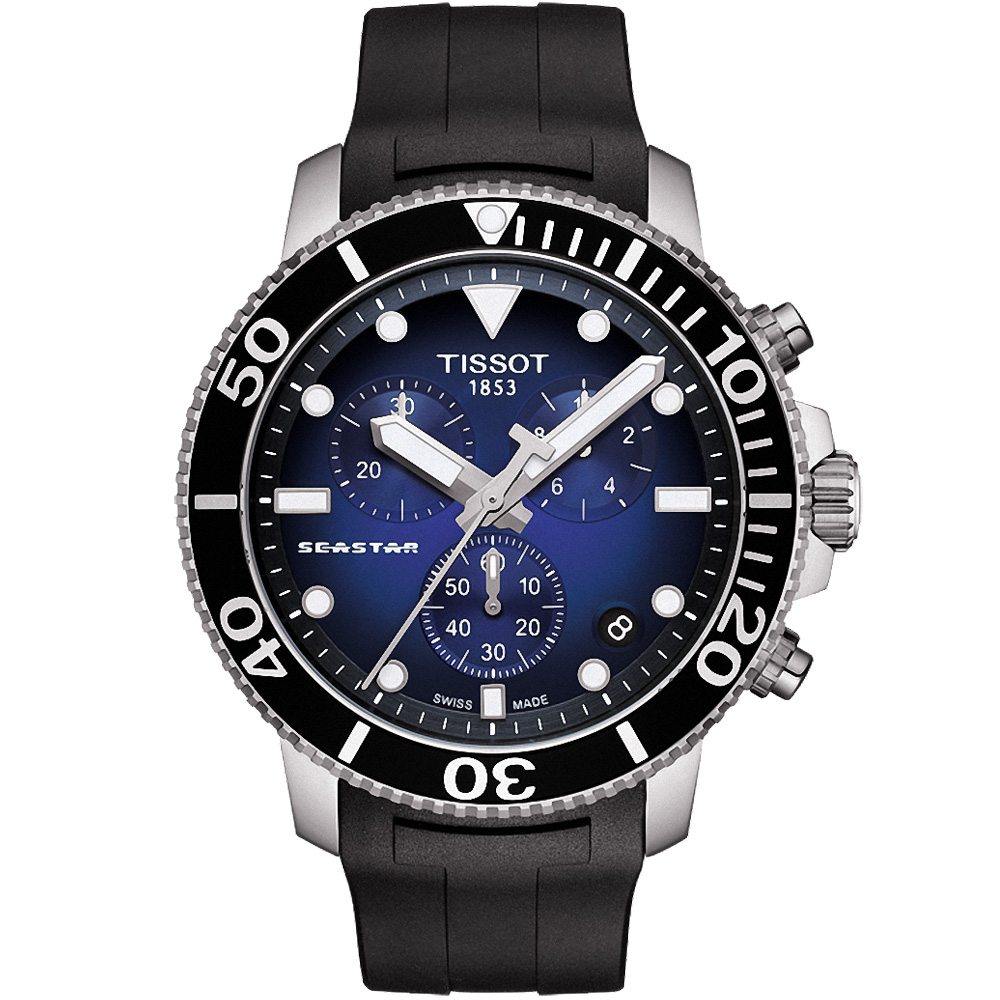TISSOT天梭 SEASTAR海星計時300米潛水錶(T1204171704100)-藍