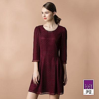 ILEY伊蕾 縷空菱格繩股蕾絲洋裝(紅)