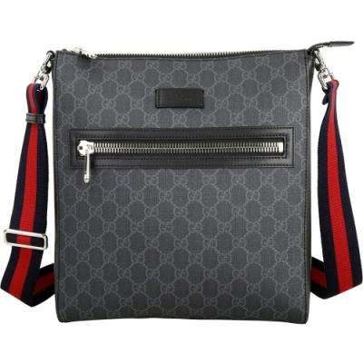 GUCCI GG Supreme 經典條紋織帶斜背信差包(黑灰色)