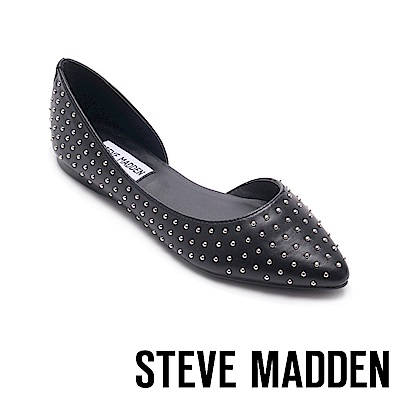 STEVE MADDEN-ELOPE搖滾鉚釘尖頭平底鞋-黑色