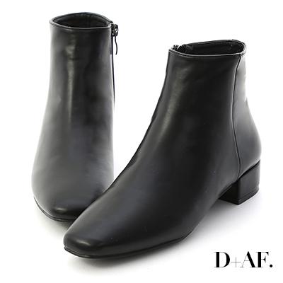 D+AF 簡單主張.素面方頭低跟短靴*黑
