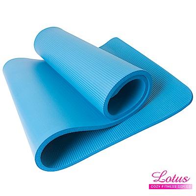 瑜珈墊 福利品 台灣製造加長加厚NBR 15mm瑜珈墊-天空藍 LOTUS