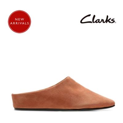 Clarks 第二肌膚 極簡設計時尚穆勒拖鞋 磚紅色
