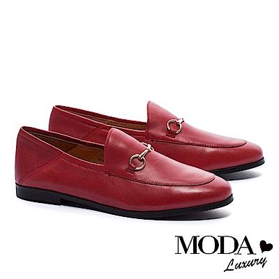 低跟鞋 MODA Luxury 英倫街頭金屬釦全真皮樂福低跟鞋-紅