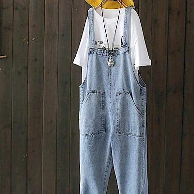初戀褲寬鬆牛仔背帶外穿連身九分褲-設計所在