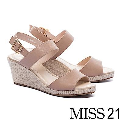涼鞋 MISS 21 簡約百搭魚口剪裁一字帶羊皮草編楔型涼鞋-米