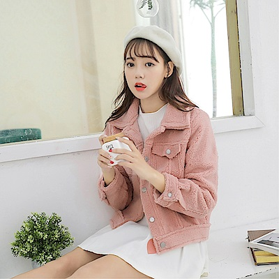 DABI 韓國風羊羔毛短款寬鬆單品外套