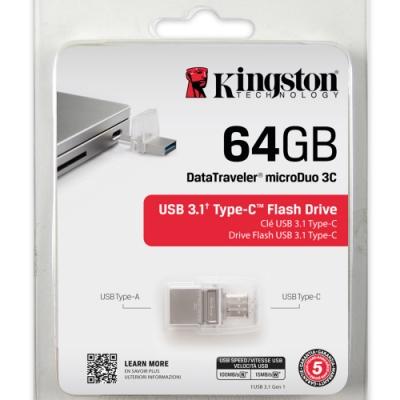金士頓 Kingston DataTraveler MicroDuo 3C USB3.<b>0</b> 64G OTG 迷你兩用隨身碟 DTDUO3C/64GB