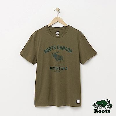 Roots 男裝-野性呼喚短袖T恤-綠色