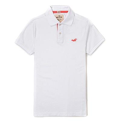 海鷗 Hollister HCO 經典海鷗電繡標誌短袖Polo衫-白色