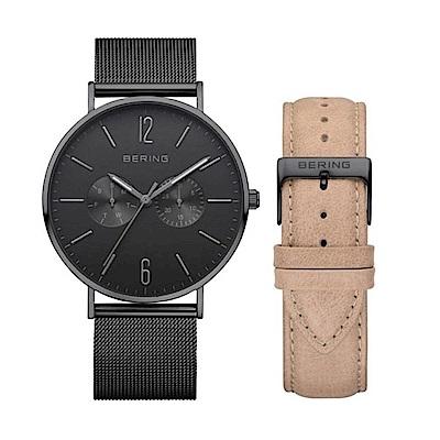 BERING- 雙眼日期顯示系列 藍寶石鏡 黑x膚色真皮/米蘭錶帶套組40mm