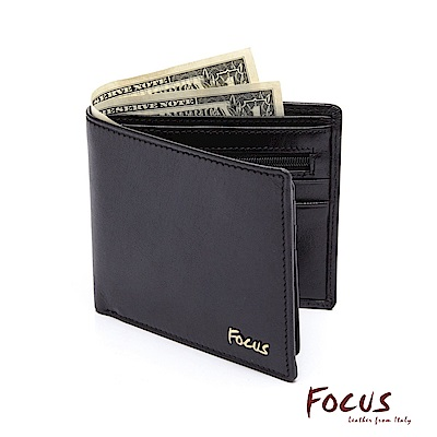 FOCUS原皮時尚黑上下掀雙透明窗拉鏈男短夾(FGB2209)
