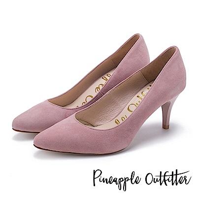 Pineapple Outfitter 簡約風尚 素面尖頭高跟鞋-絨粉