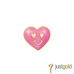 鎮金店Just Gold Pinkholic粉紅派對純金系列 黃金單耳耳環-愛心