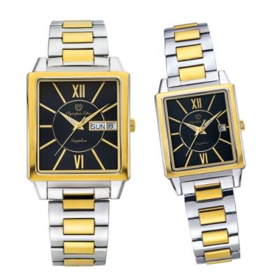 Olympia Star 奧林比亞之星 經典時尚羅馬方型對錶-雙色*黑 58065