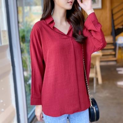 2F韓衣-簡約寬鬆素色V領造型上衣-3色(M-2L)