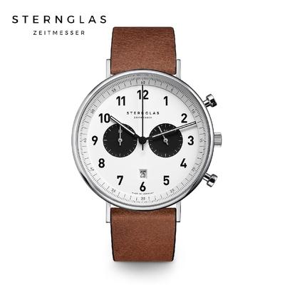 STERNGLAS 德國希丹格斯 S01-CH03-VI15 雙眼計時黑盤文青石英錶(黑錶帶) 43mm 男/女錶