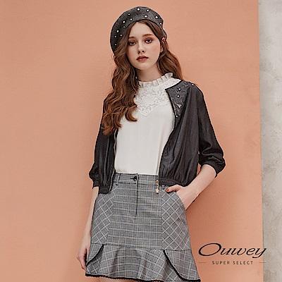 OUWEY歐薇 100%萊賽爾縷空刺繡造型外套(黑)