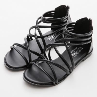 River&Moon涼鞋 台灣製細交叉繞帶後拉鍊羅馬涼鞋 黑