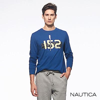 Nautica純色文字划槳長袖TEE-藍