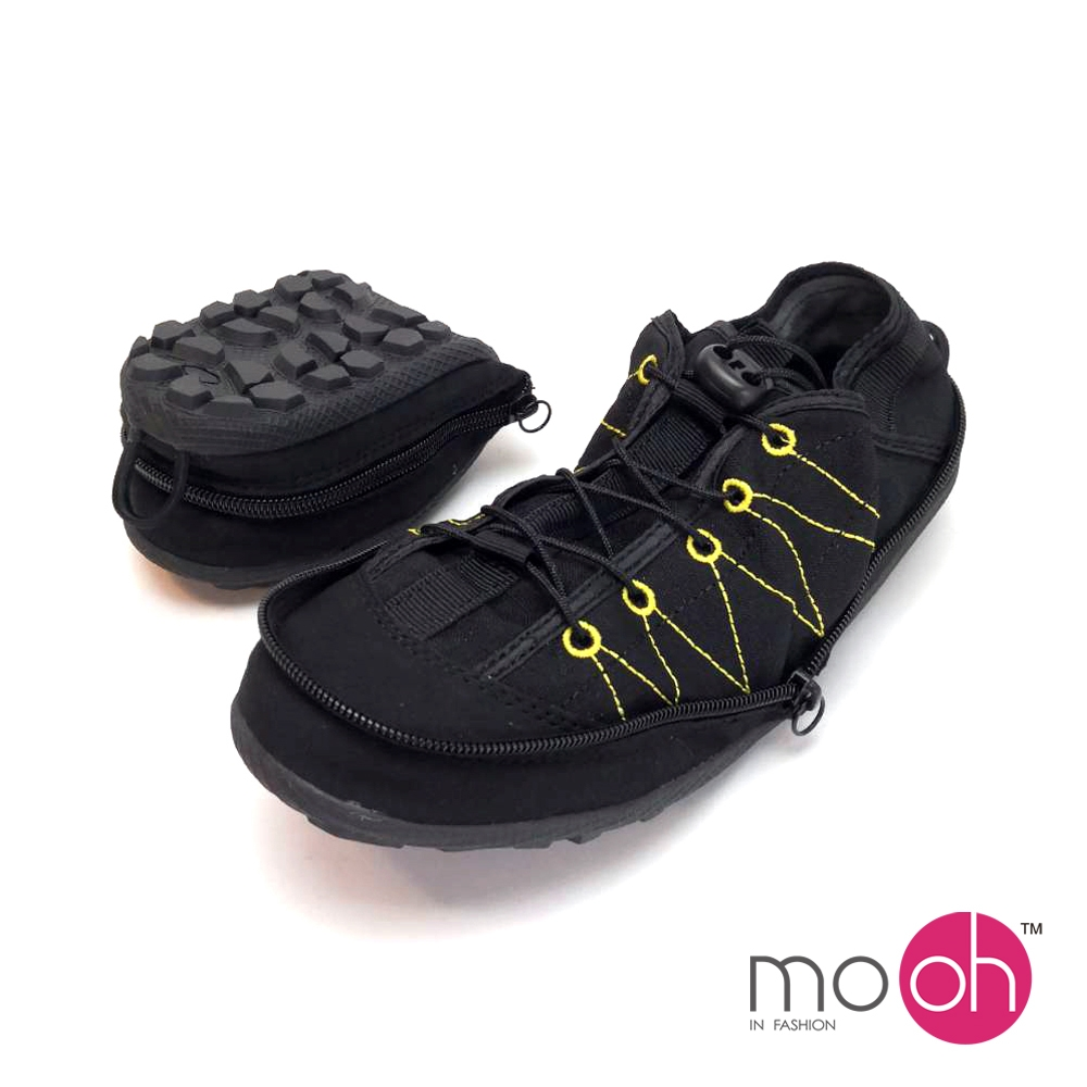 mo.oh情侶款折疊登山帆布鞋-黑色