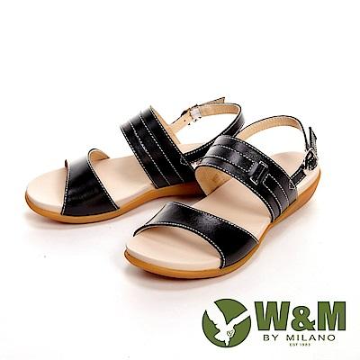 W&M 歐美雙帶皮革方扣涼鞋 女鞋-黑(另有米白)