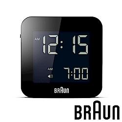 德國百靈 BRAUN 數位電子方形精巧旅行鬧鐘 (BNC008BK)-質感黑