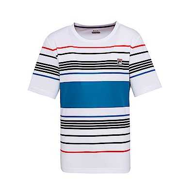 FILA 男款抗UV吸濕排汗T恤-白色 1TET-1001-WT