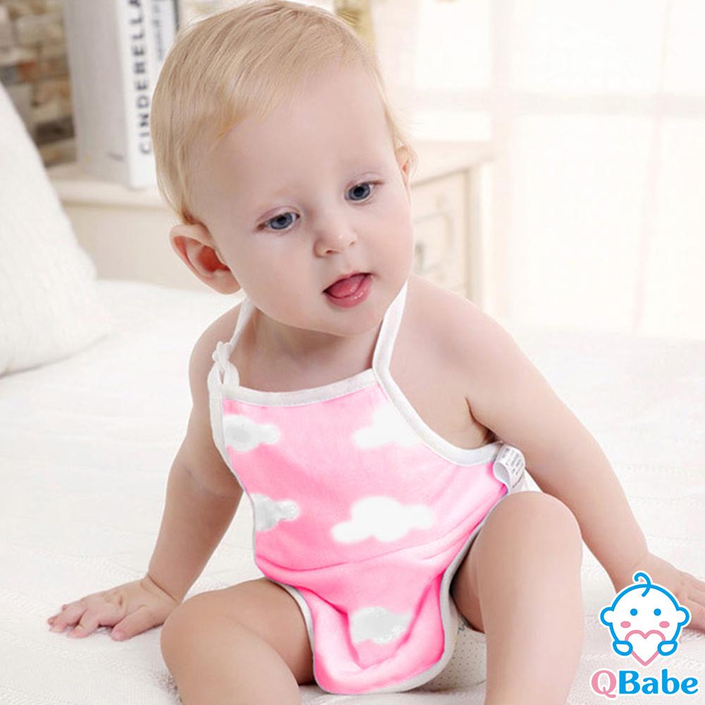 QBabe 全棉六層紗 寶寶防著涼肚兜-粉色雲朵