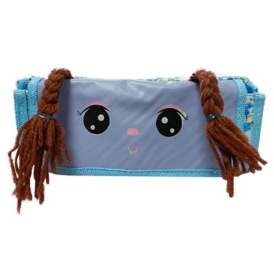 金德恩 萌娃雙辮子布包編織造型筆袋/鉛筆盒/收納包 三款可選