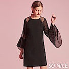 SO NICE優雅蕾絲造型袖雪紡洋裝