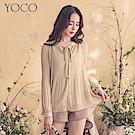 東京著衣-YOCO  古典氛圍綁帶蝴蝶結壓摺傘擺上衣-S.M.L
