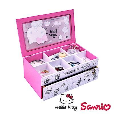 Hello Kitty 凱蒂貓桌上橫式多格 飾品收納盒 抽屜盒 置物盒 桌上收納