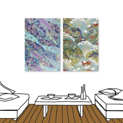 24mama掛畫 二聯式 現代無框畫掛畫 40x60cm-日式花布系列4