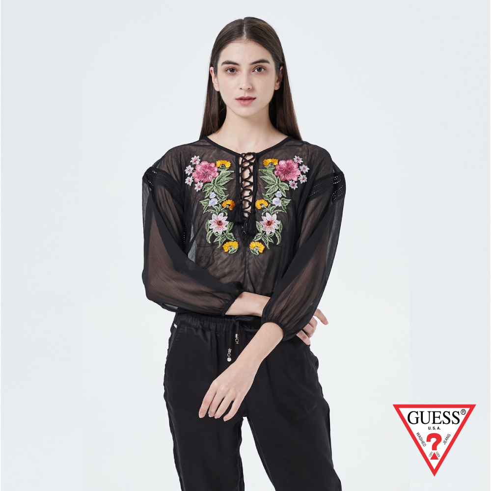 GUESS-女裝-印花透膚短版長袖上衣-黑 原價1990