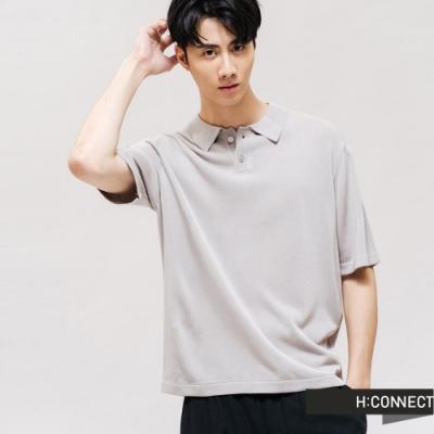 H:CONNECT 韓國品牌 男裝 -素色V領排扣針織POLO-灰